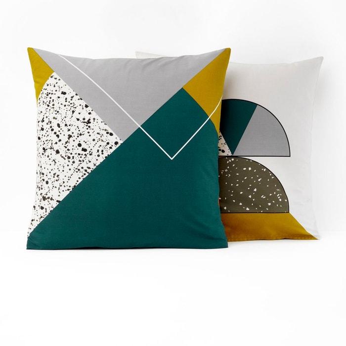 taie d 39 oreiller coton hilda canard moutarde blanc la redoute interieurs la redoute. Black Bedroom Furniture Sets. Home Design Ideas