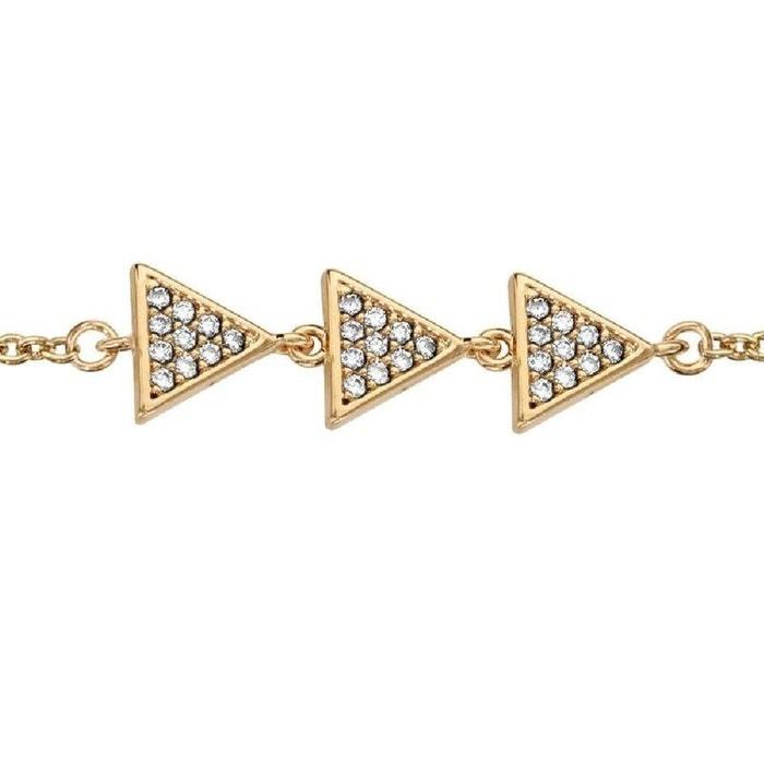 Bracelet longueur réglable: 16 à 18 cm triangles pavés oxyde de zirconium blanc plaqué or 750 couleur unique So Chic Bijoux   La Redoute La Sortie Abordable uhslgN16z