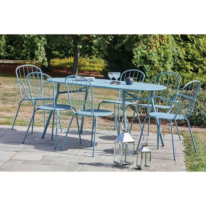 Salon de jardin 6 personnes en acier coloris bleu tivoli gris/bleu ...