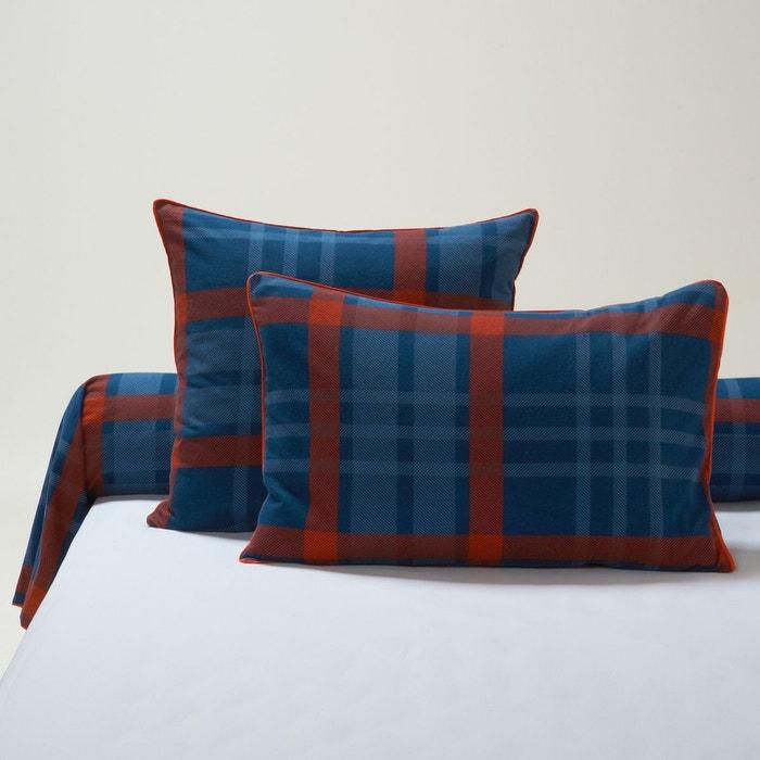 taie d oreiller flanelle erwin carreaux rouge bleu la redoute interieurs la redoute. Black Bedroom Furniture Sets. Home Design Ideas