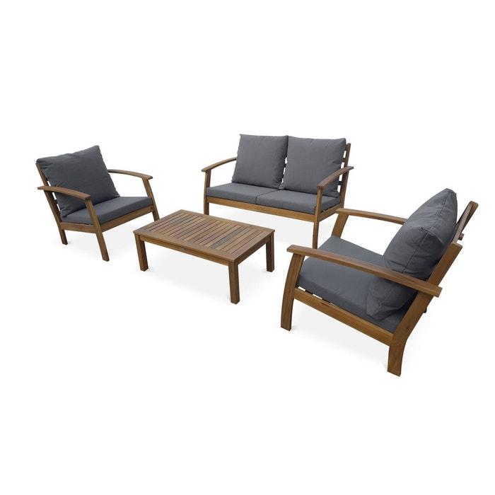 Salon de jardin en bois 4 places - ushuaïa - canapé, fauteuils et ...