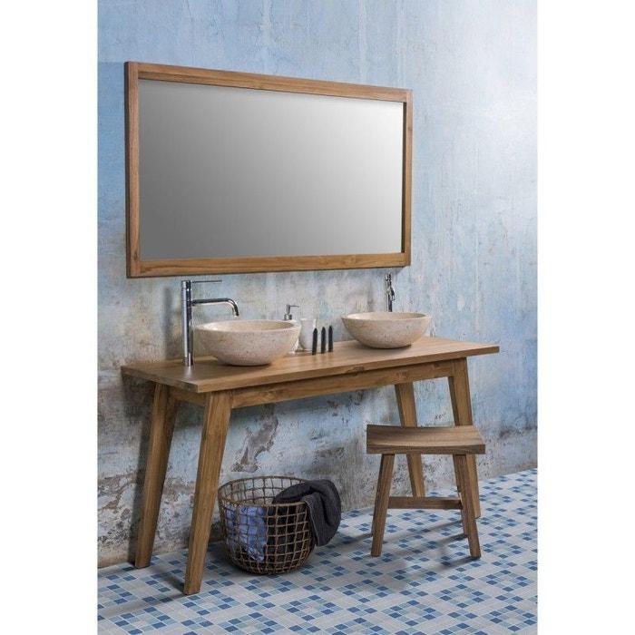 ensemble de salle de bain en bois de teck avec 2 vasques et 1 miroir teck brut bois dessus bois. Black Bedroom Furniture Sets. Home Design Ideas