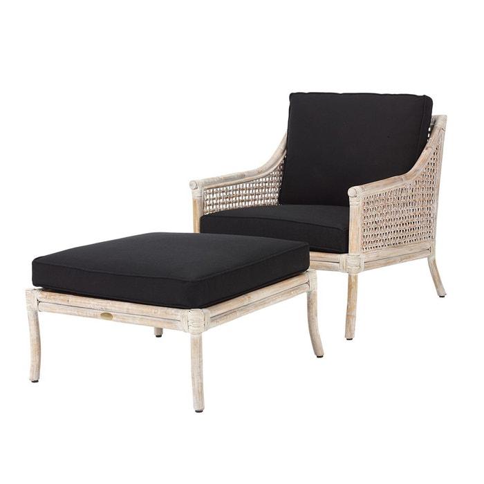 fauteuil et repose pied bilbao rotin blanc et coussin noir. Black Bedroom Furniture Sets. Home Design Ideas