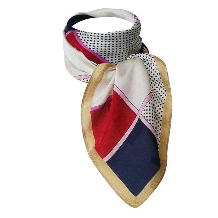 Foulard de soie losanges et pois bleu, blanc et rouge Chapeau-Tendance   La  Redoute 4f590502257