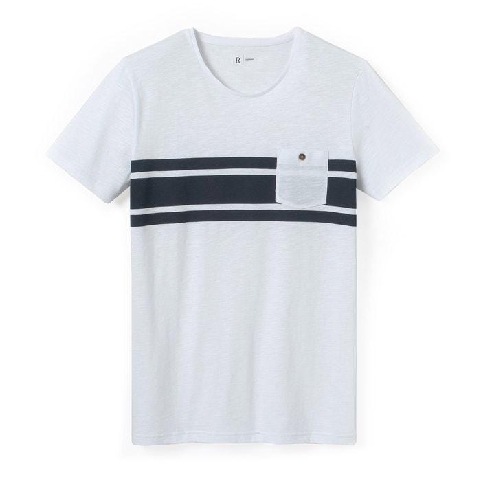 Imagen de Camiseta con cuello redondo a rayas en tono block R édition