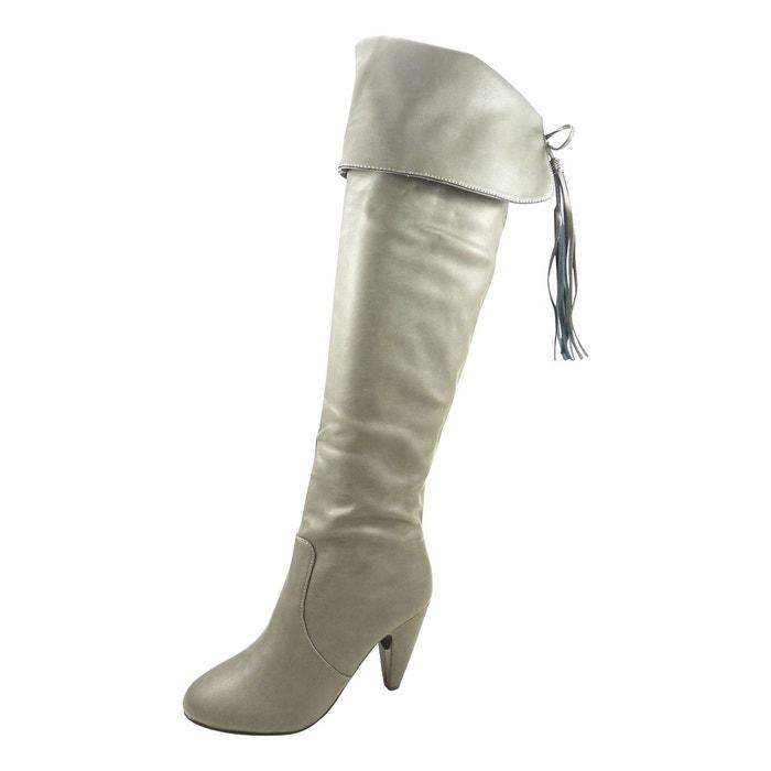 Bottes hautes cuissardes femme à talons hauts de 8 cm zippées similicuir gris Chaussmaro