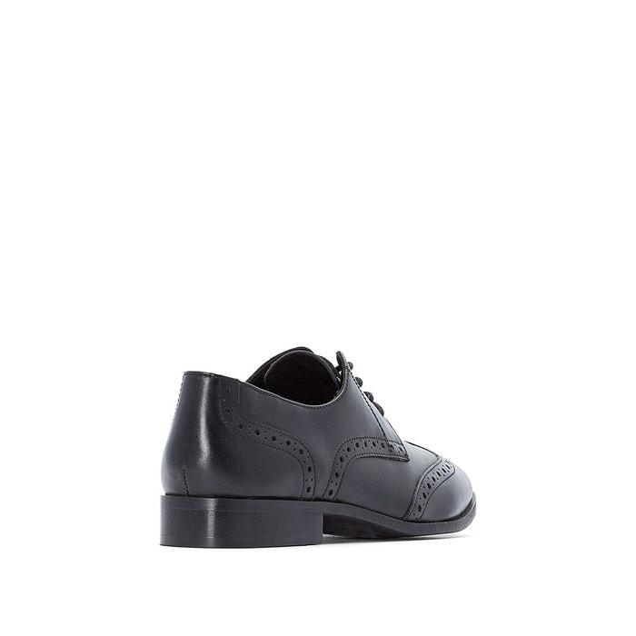 51e57d5e7c90 Derbies style richelieu en cuir noir Castaluna