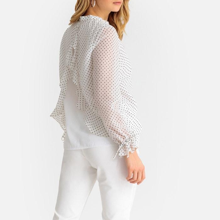 3d619391bc1 Blusa con cuello tunecino de lunares, manga larga estampado fondo blanco  Anne Weyburn | La Redoute