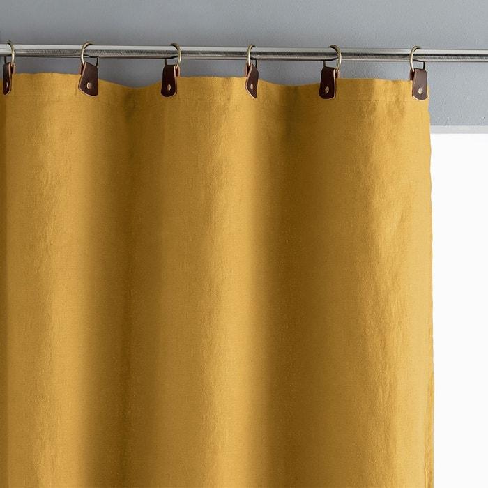 rideau lin lav doubl passants cuir private jaune curry am pm la redoute. Black Bedroom Furniture Sets. Home Design Ideas