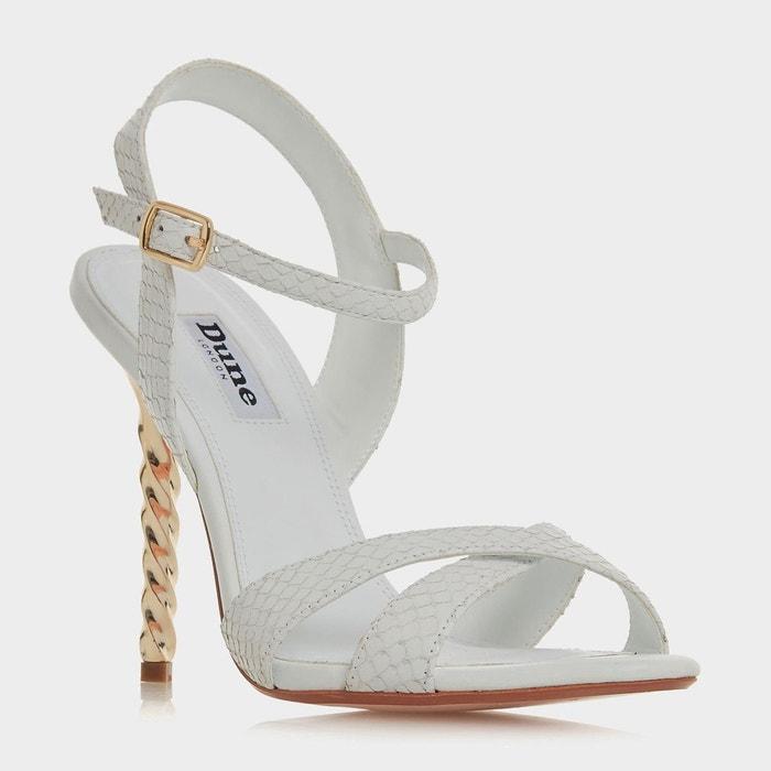 Sandales à talons torsadés - magician blanc cuir Dune London