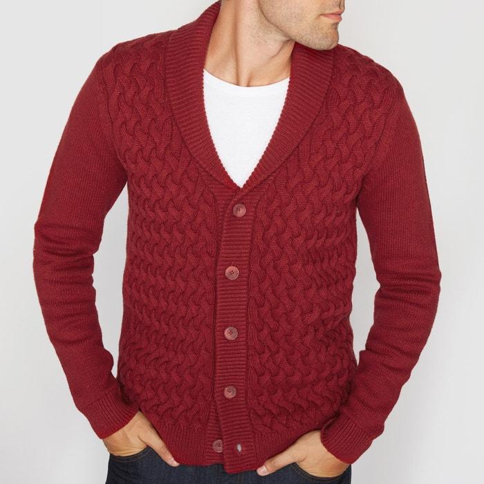 Image Rozpinany sweter z kołnierzem szalowym i splotem warkoczowym La Redoute Collections