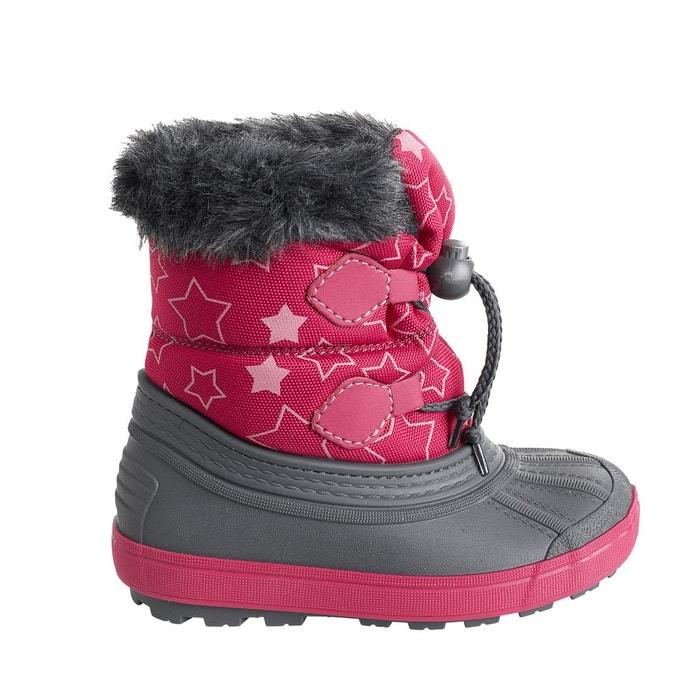 748a2373a8d92 Bottes de neige fourrées fille à lacets rose Vertbaudet
