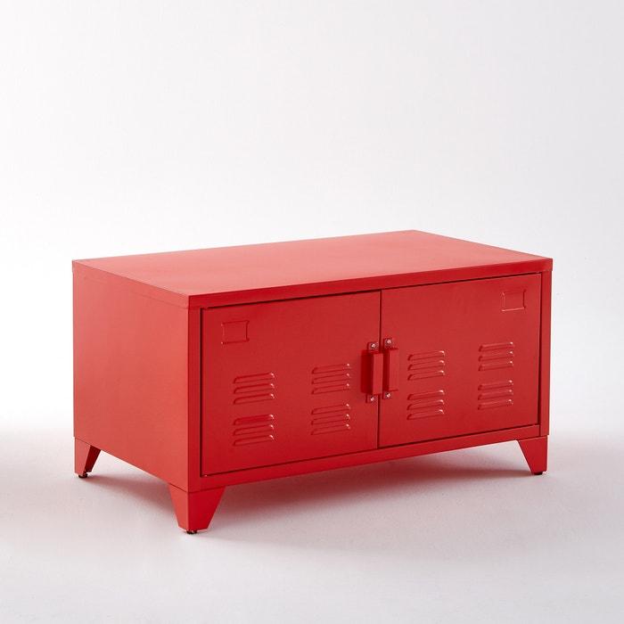 Hiba metal cabinet with 2 doors la redoute interieurs la redoute - Meuble metallique rouge ...