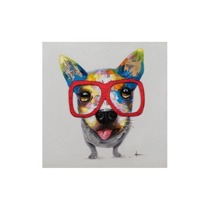 tableau animal pop art petit chien lunettes 70x70cm multicolore pier import la redoute. Black Bedroom Furniture Sets. Home Design Ideas