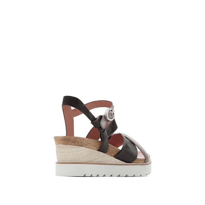 Sandales compensées, cuir, tapas Mjus