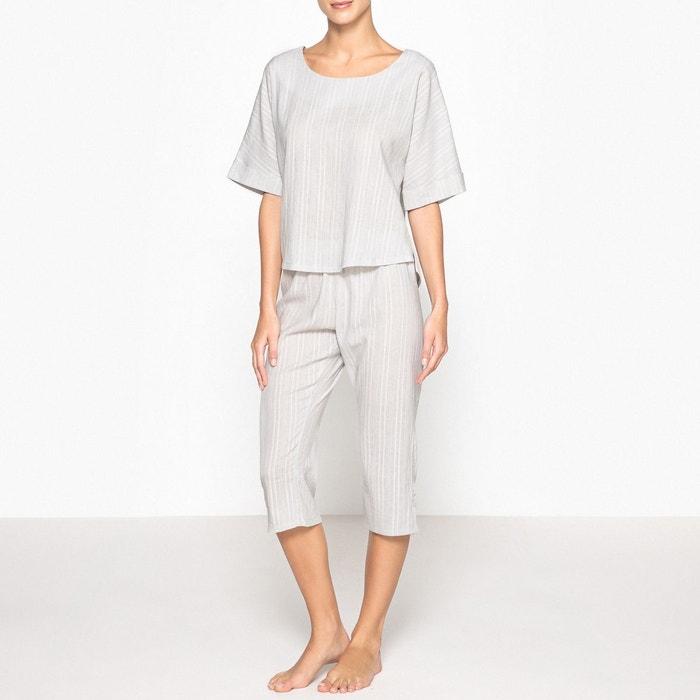 Pyjama court, détails brodés  La Redoute Collections image 0