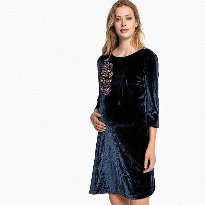 f156b05065b2b Robe de grossesse en velours imprimé devant bleu marine La Redoute  Maternité
