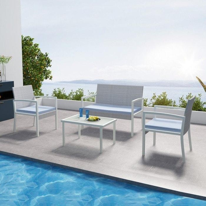 Salon de jardin en resine tressee, 4 places, gris/bleu, MILOS
