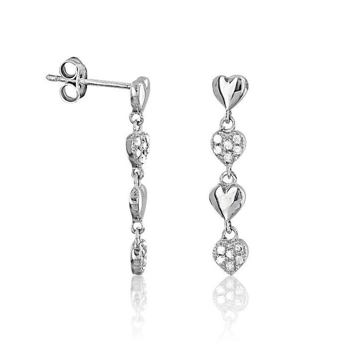 Boucles d'oreilles en or 375/1000 blanc et diamant blanc blanc Cleor   La Redoute Rabais Meilleur Combien Le Prix Pas Cher À Vendre La Vente En Ligne cJH8mA8dVs