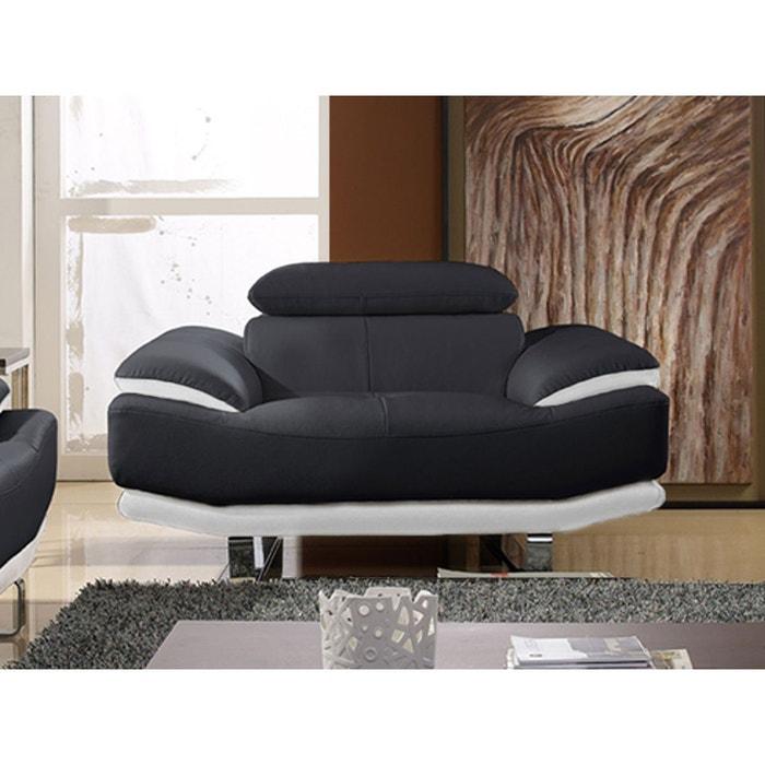 Fauteuil cuir osmoz noir et blanc la maison du canape la - La redoute meuble salon ...