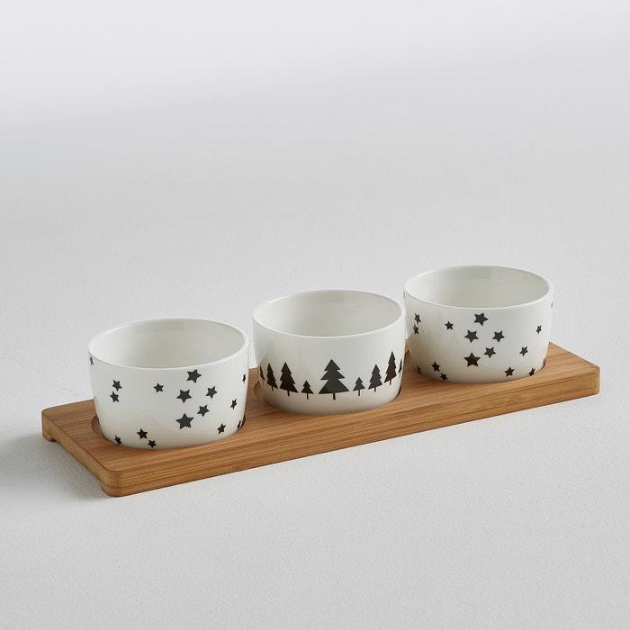 Image Set 3 ramequins + plateau céramique et bambou La Redoute Interieurs