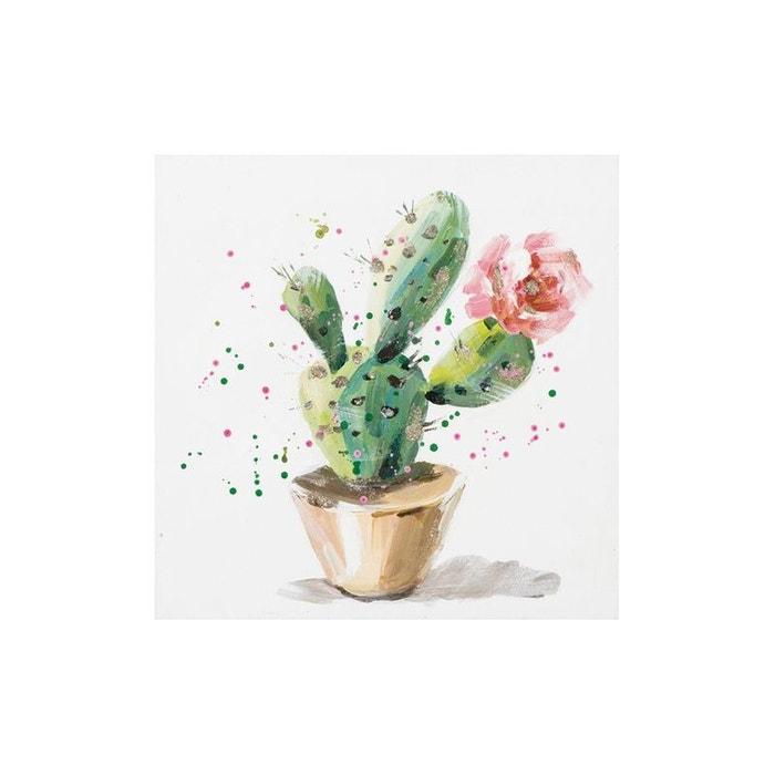 Tableau Cactus En Fleurs Multicolore Avec Points Verts Et Rose