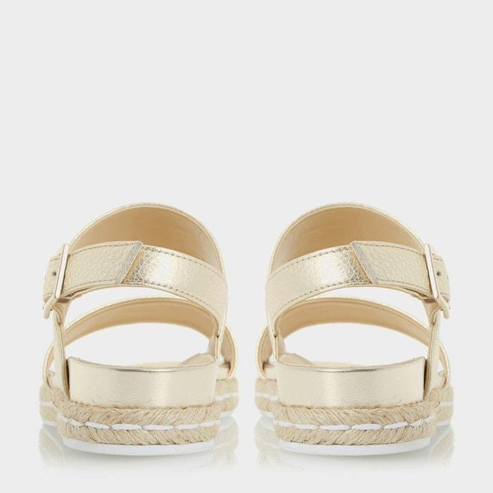 Sandales cuir plates lacrosse blanc Dune London