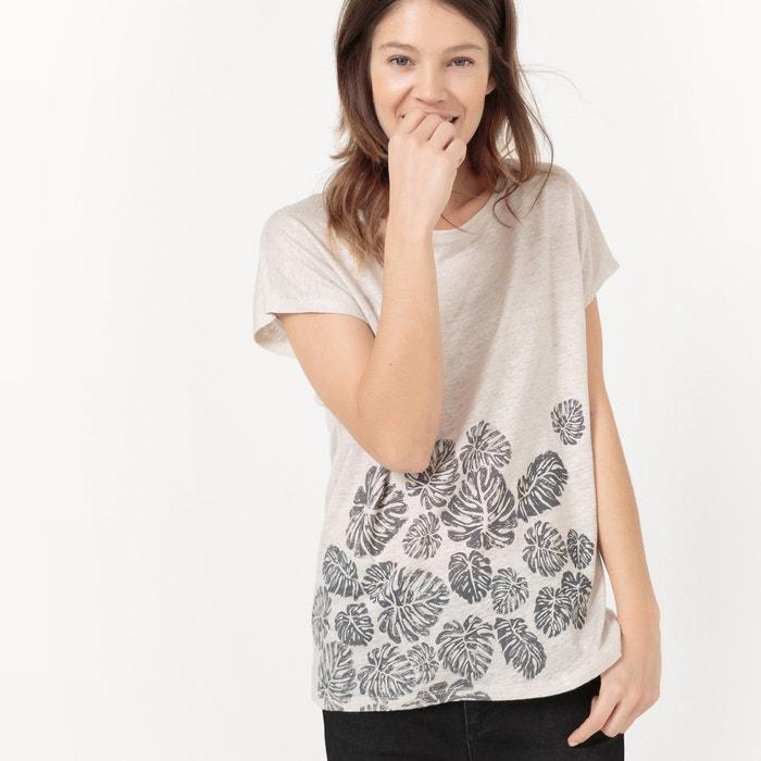 afbeelding T-shirt in linnen met bladprint, ronde hals La Redoute Collections