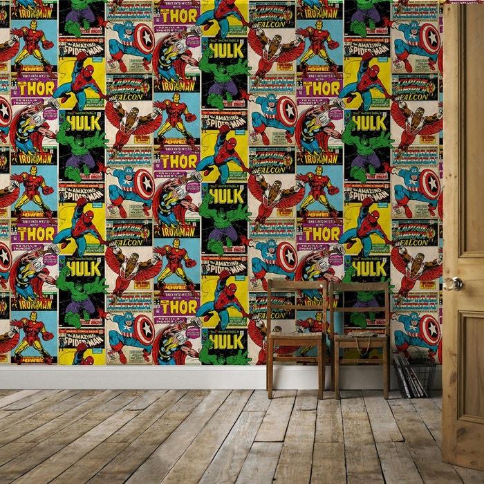 Marvel papier peint support papier marvel avengers retro duplex