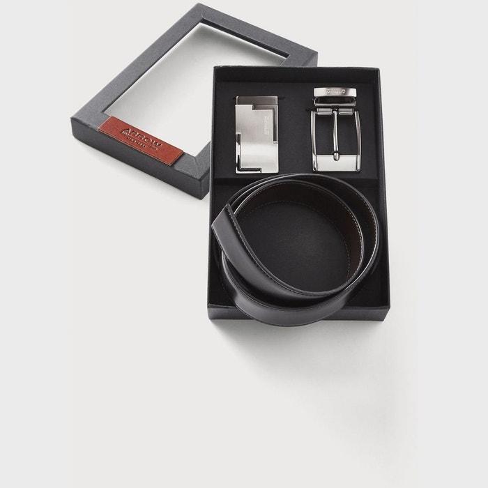 Coffret ceinture cuir réversible avec boucle et plaque noir Arrow   La  Redoute dd0db45e774