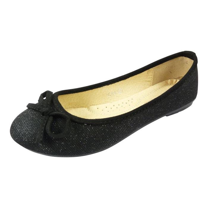Ballerines en toile et brillante à noeud chaussure femme bout rond  noir Chaussmaro  La Redoute