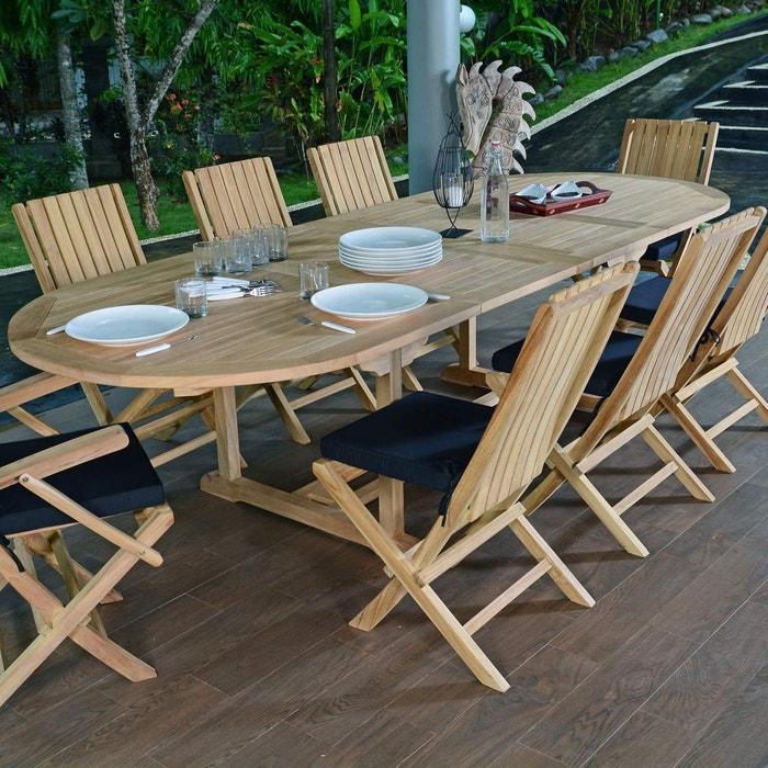 Salon de jardin en teck qualité ecograde malte, 8/10 places naturel ...