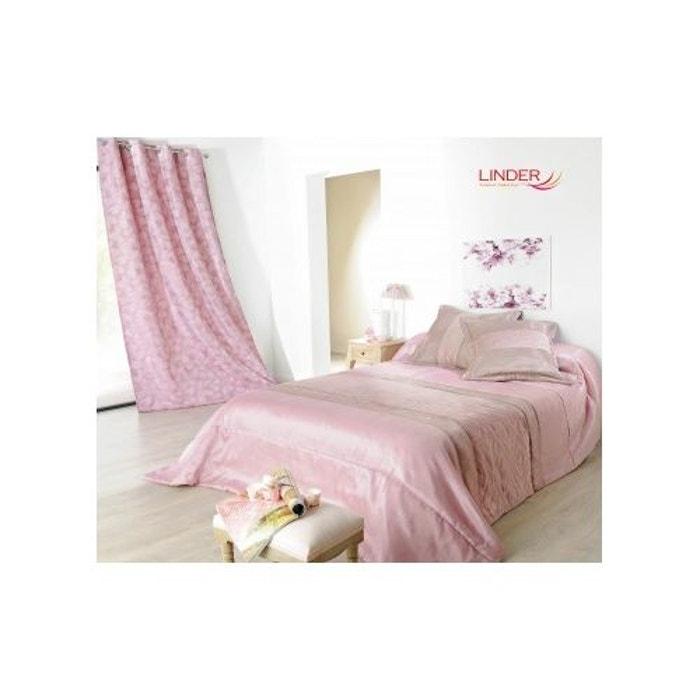 jet de lit ouatin rose avec taie d 39 oreiller rose claire acidul et brun dor home maison la. Black Bedroom Furniture Sets. Home Design Ideas