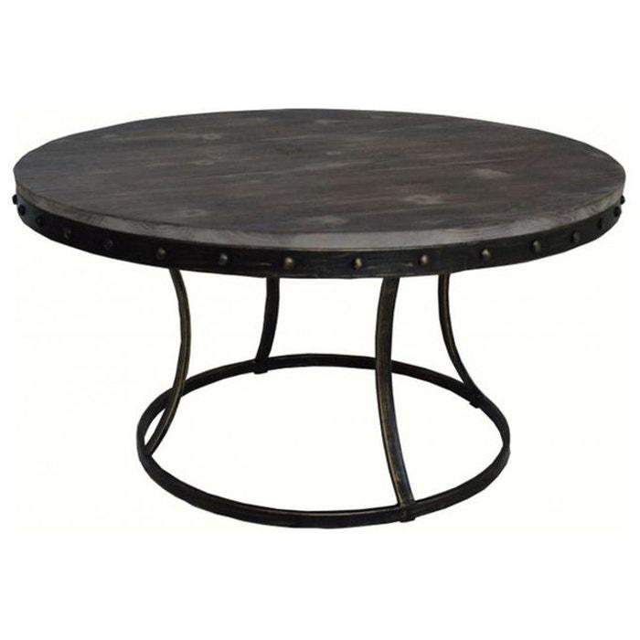 Table basse ronde en m tal et bois fondia couleur unique - Table ronde la redoute ...