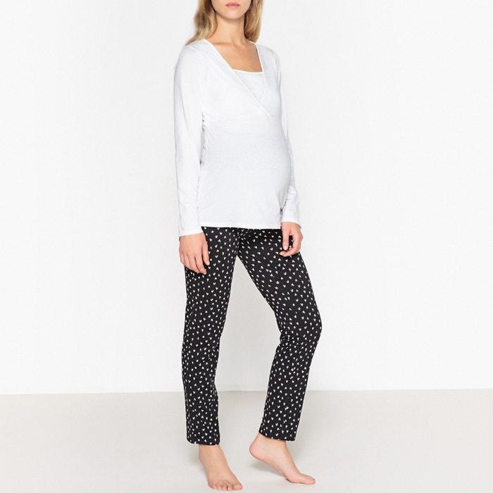 pyjama de grossesse et allaitement la redoute maternite blanc noir la redoute. Black Bedroom Furniture Sets. Home Design Ideas
