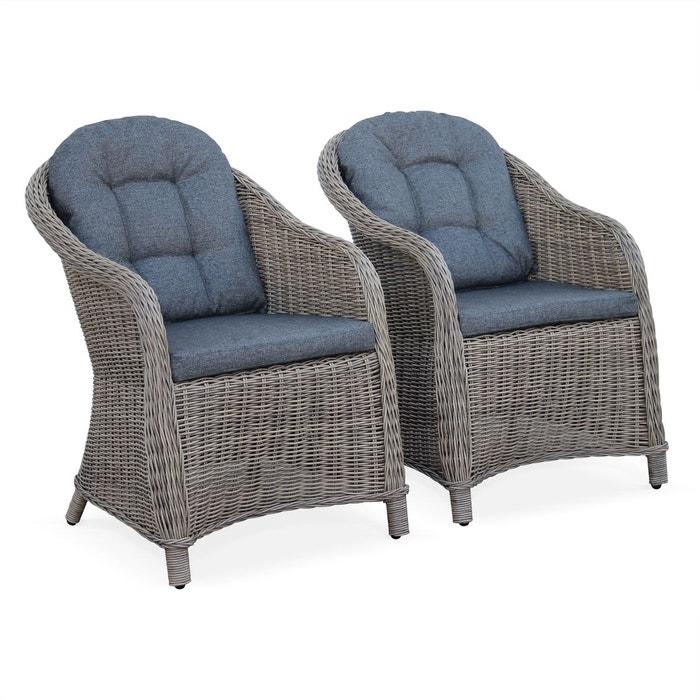 Fauteuils x2 en r sine tress e arrondie imitation rotin naturel anthracite - La redoute fauteuil rotin ...