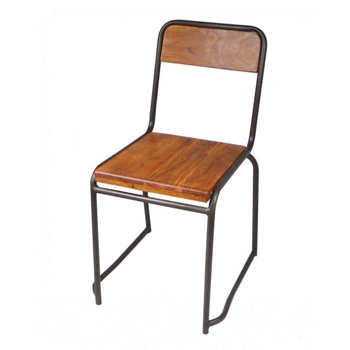 Chaise Industrielle Bois Et Mtal Style Vintage WADIGA Image 0