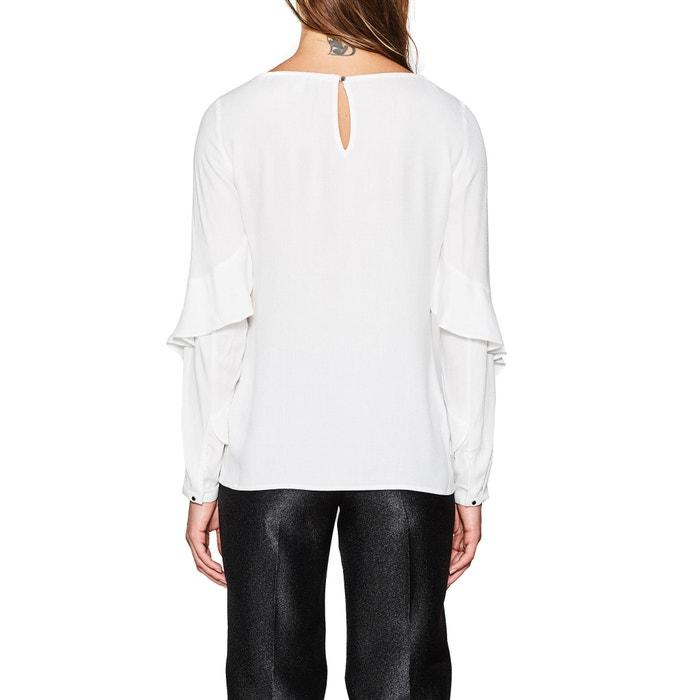 larga recta lisa cuello tunecino Blusa de con ESPRIT manga 8aBp1a
