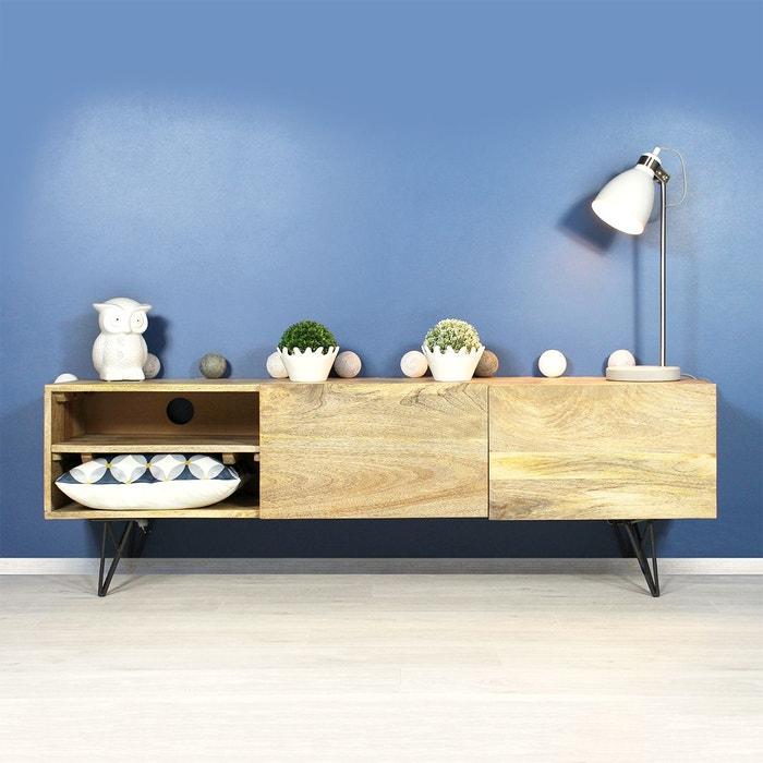 meuble tv manguier baltiq bt0200a bois naturel made in meubles la redoute. Black Bedroom Furniture Sets. Home Design Ideas
