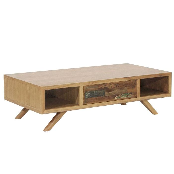 Table Basse Scandinave 1 Tiroir Teck Recycle Naturel 120x60cm Lombok