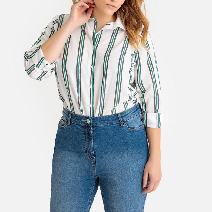a14756e59e43 Striped long-sleeved cotton tunic shirt striped Castaluna Plus Size ...