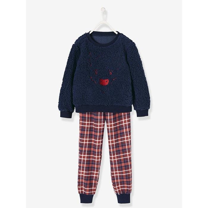728d0995e45c1 Pyjama bi-matière garçon bison brodé bleu carreaux Vertbaudet