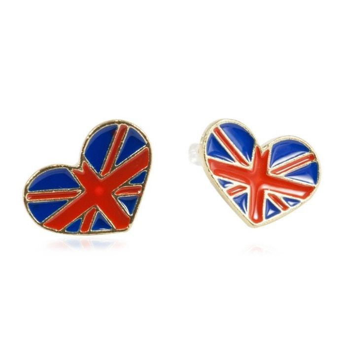 421c4e1f28a8c Boucles d oreilles en forme de coeurs aux couleurs du drapeau anglais  EXOTIC EXPRESS image