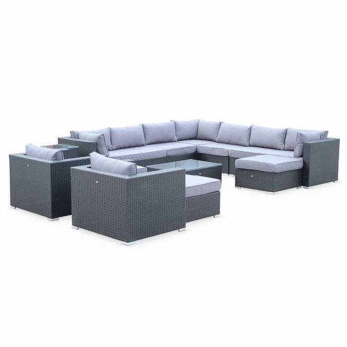 Salon de jardin en résine tressée xxl 14 places noir fauteuil ...