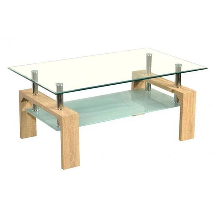 Table basse pieds ch ne plateau verre boily couleur unique - La redoute table chene ...