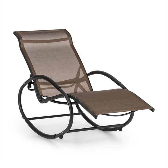 blumfeldt santorini fauteuil bascule chaise longue aluminium polyester marron blumfeldt image 0 - Fauteuil Chaise Longue