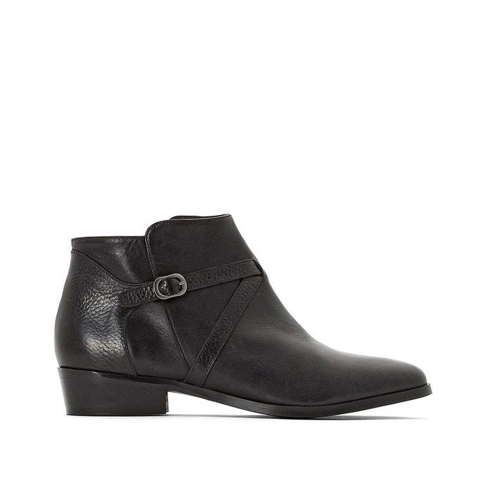 d3d956bae5cc Boots en cuir à bride boucle dorée premium noir La Redoute Collections