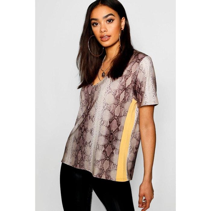 0d7a988398a57 T-shirt col v manches courtes couleur chair Boohoo   La Redoute