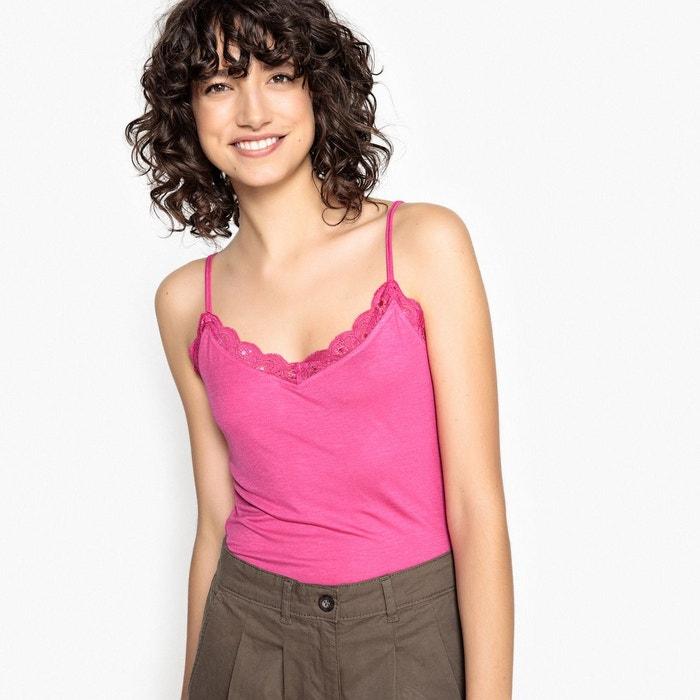 T-shirt col V dentelle, fines bretelles  La Redoute Collections image 0