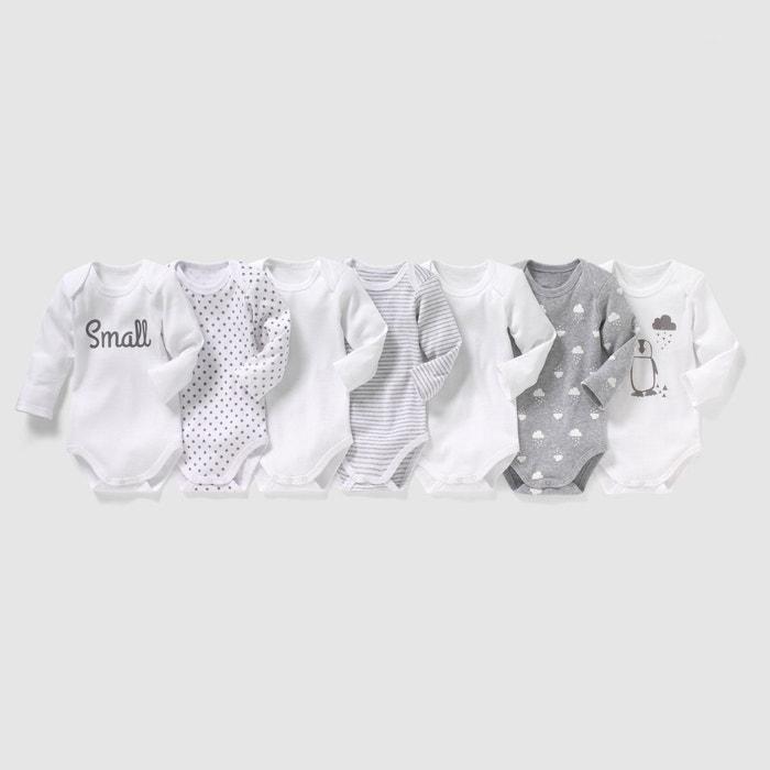 91a5cbea5ce24 Lot de 7 bodies 0 mois- 3 ans blanc noir La Redoute Collections   La Redoute